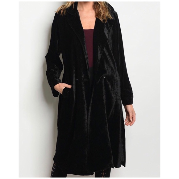 classic style of 2019 quite nice most desirable fashion BLACK VELVET TRENCH COAT Boutique